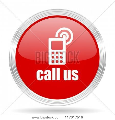 call us red glossy circle modern web icon on white background