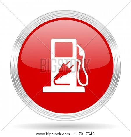 fuel red glossy circle modern web icon on white background