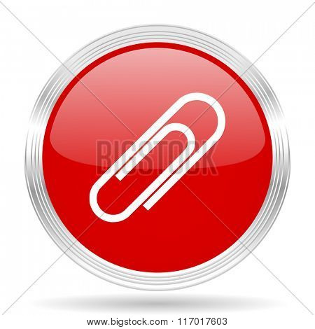 paperclip red glossy circle modern web icon on white background