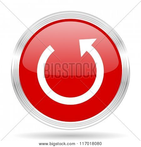 rotate red glossy circle modern web icon on white background