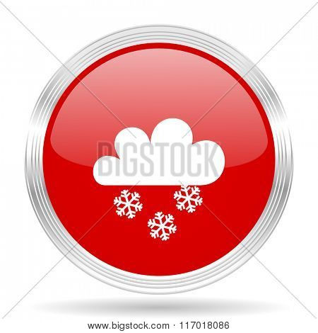 snowing red glossy circle modern web icon on white background