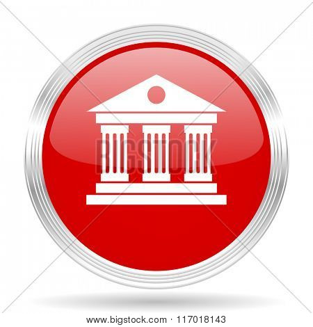 museum red glossy circle modern web icon on white background