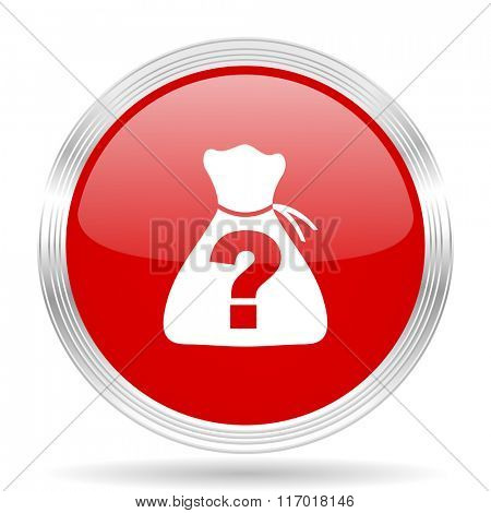 riddle red glossy circle modern web icon on white background