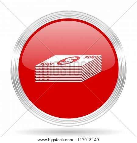money red glossy circle modern web icon on white background