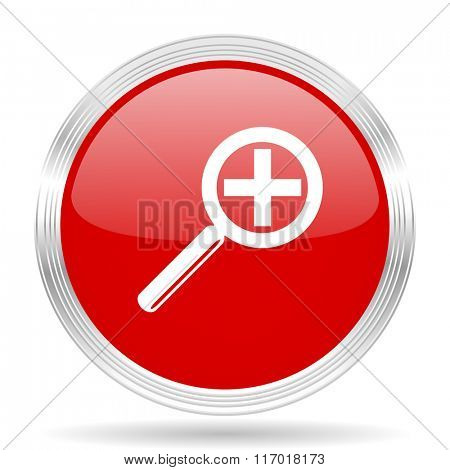 lens red glossy circle modern web icon on white background
