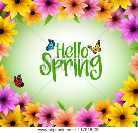 Colorful Flowers Background Frame for Spring Season in Realistic 3D Vector