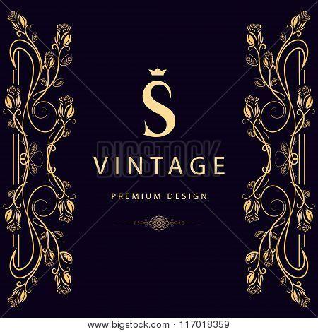Monogram Design Elements, Graceful Template. Elegant Line Art Logo Design. Letter S. Business Sign,