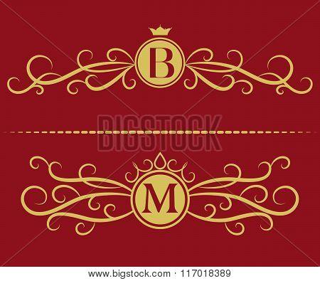 Monogram Design Elements, Graceful Template. Elegant Line Art Logo Design. Letter B, M. Business Sig