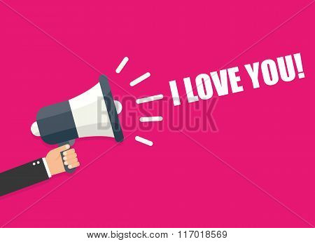 Megaphone Hand Love You