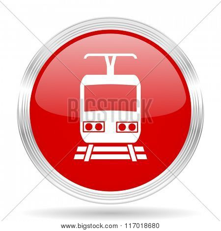train red glossy circle modern web icon on white background