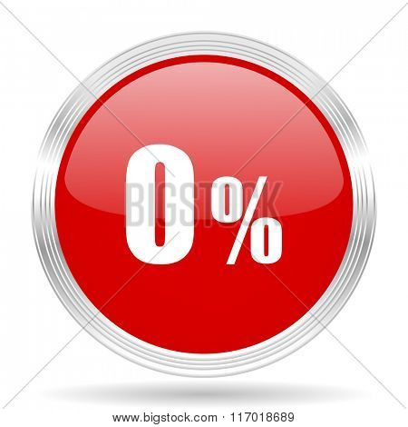0 percent red glossy circle modern web icon on white background