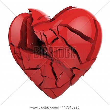 Broken heart isolated