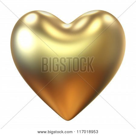 Golden heart isolated