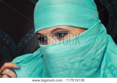 Eyes Of A Beautiful Oriental Woman In Niqab.