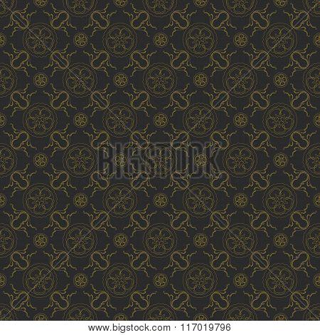 Seamless abstract black gold floral pattern for design.
