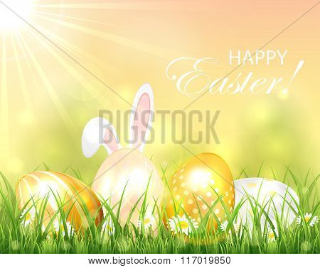Background With Easter Eggs And Rabbit