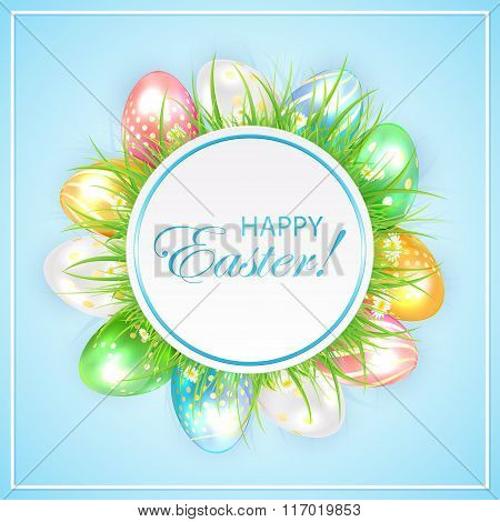 Easter Banner With Grass And Colorful Eggs