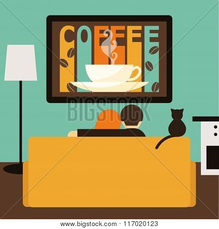 Couple And Cat Watching Together Coffee Advertising On Television