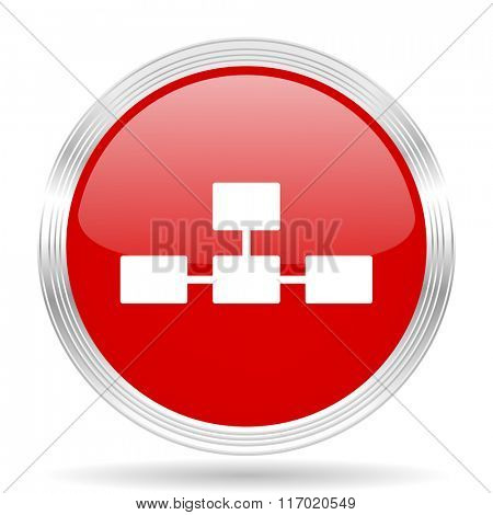 database red glossy circle modern web icon on white background