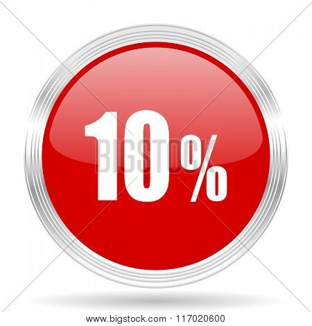 10 percent red glossy circle modern web icon on white background
