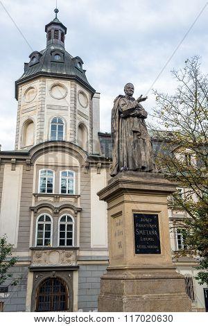 Pilsen, Czech Republic - October 3, 2015: Former Premonstratensian College Plzen and Church of St. Anna with Josef Smetana statue