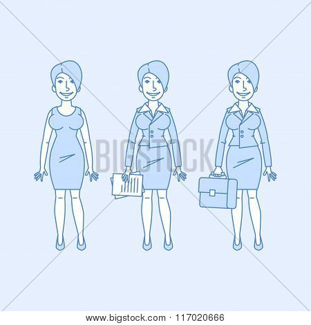 Business woman in different versions