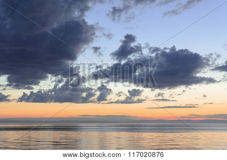 Sunset at Baikal lake