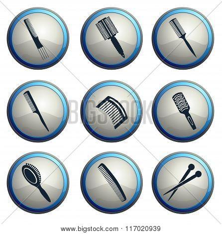 Hairbrushes icon set