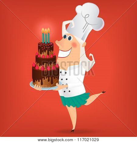Cartoon Lady Chef