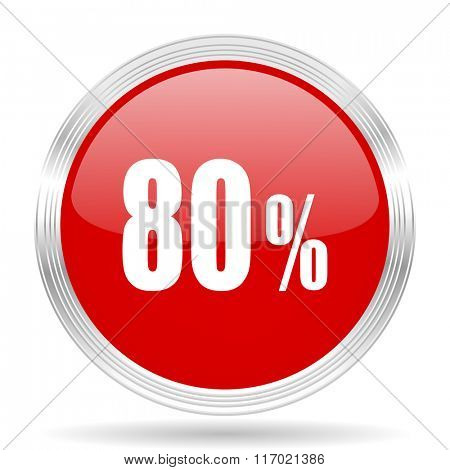 80 percent red glossy circle modern web icon on white background