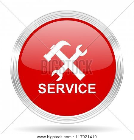 service red glossy circle modern web icon on white background