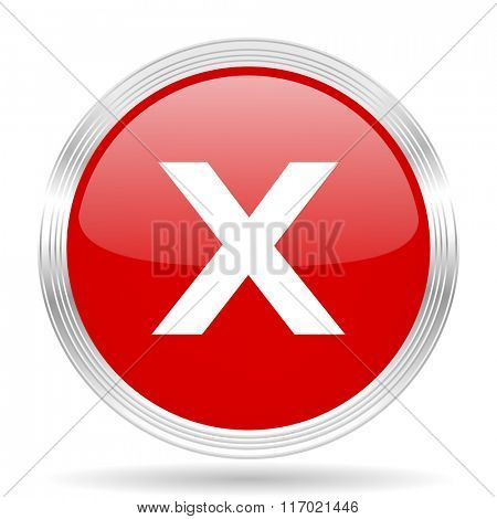 cancel red glossy circle modern web icon on white background
