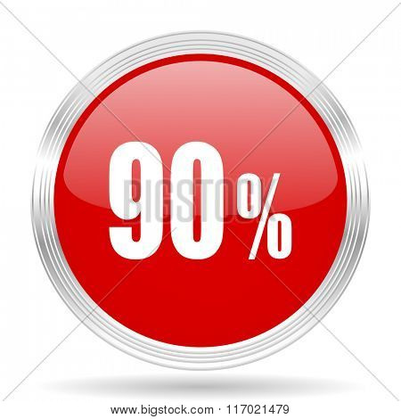 90 percent red glossy circle modern web icon on white background