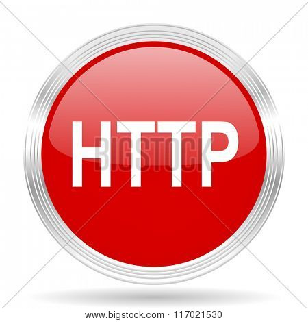 http red glossy circle modern web icon on white background