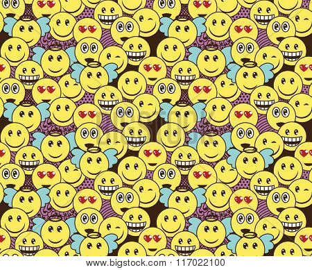 Seamless Doodle Pattern With Fun Positive Emoticon Expressions. Smile, Wink, Angel, Surprised, In Lo