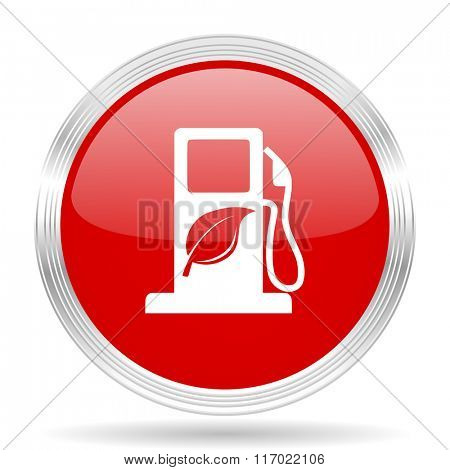biofuel red glossy circle modern web icon on white background