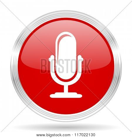 microphone red glossy circle modern web icon on white background