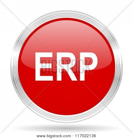 erp red glossy circle modern web icon on white background