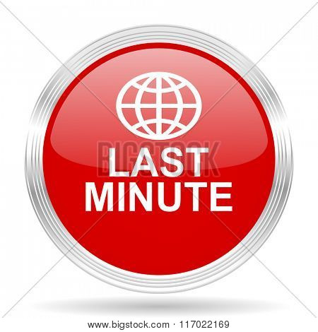 last minute red glossy circle modern web icon on white background