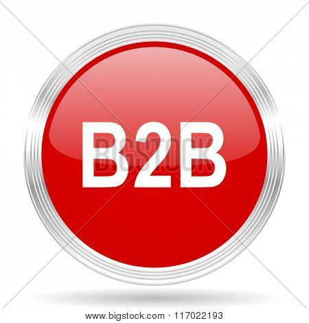 b2b red glossy circle modern web icon on white background
