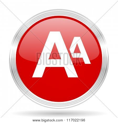 alphabet red glossy circle modern web icon on white background