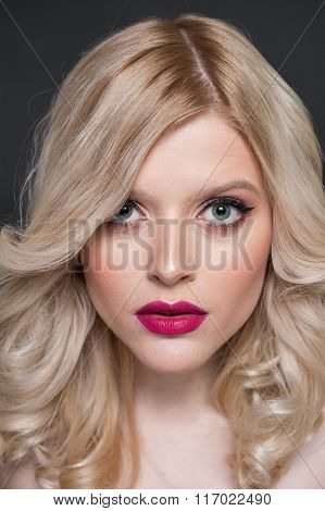 Unretouched Studio Beauty Portrait Of A Blonde Girl
