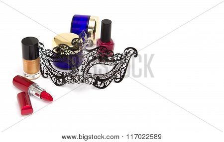 Women's Accessories: Red Lipstick, Marsala And Golden Nail Polish, Cremes Amd Black Mask