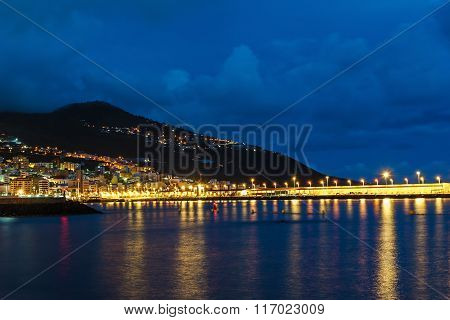 View of the City of Santa Cruz In The Evening Illumination, La Palma, Spain