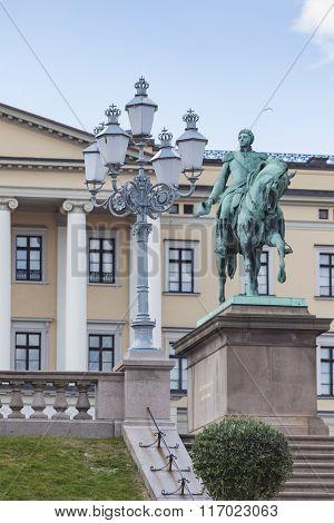 Statue Of Norwegian King Carl Johan Xiv In Oslo