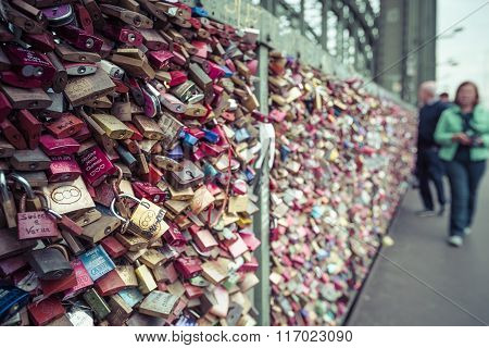 Cologne, Germany - August 8, 2015: Love Locks At The Hohenzollern Bridge, Cologne, Germany