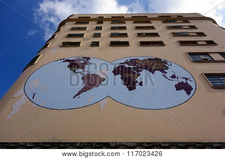 World map on the exterior of the Masonic Grand Lodge in the center of Havana, Cuba.