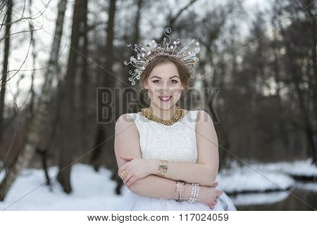 Portrait Of A Young Beautiful Woman Wearing A Crown With Rhinestones