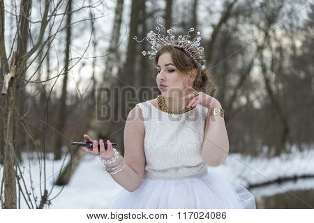 Beautiful Girl Taking Photos Herself  The Winter Outdoors