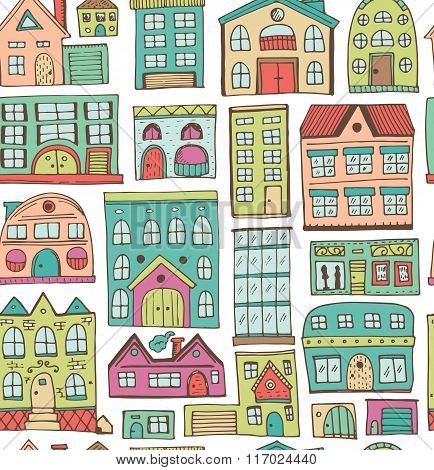Sketch set of houses in doodle style